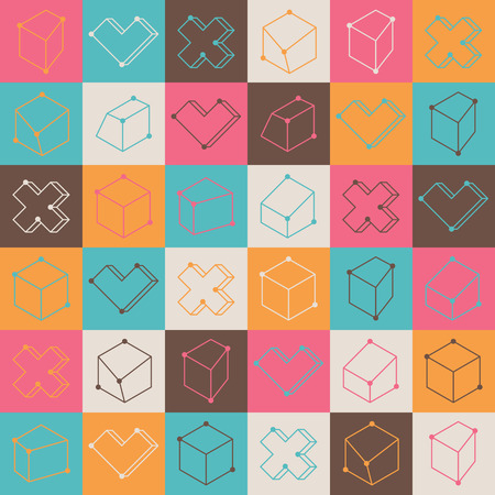 checkered volume: Colorful checker pattern with abstract geometric shapes Illustration