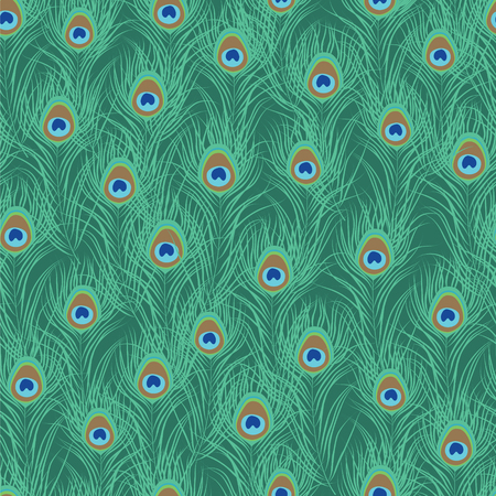feathering: Peacock feather seamless pattern. Vector illustration
