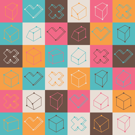 checkered volume: Colorful checker pattern with abstract geometric shapes Stock Photo