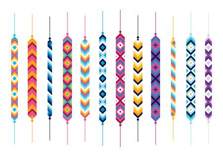 dyi: Set of friendship hippy bracelets. Multicolor vector illlustration Illustration