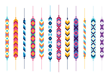 dyi: Set of friendship hippy bracelets. Multicolor vector illlustration Stock Photo