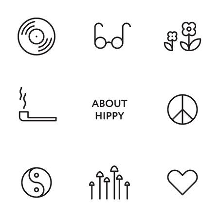 Set of flat line hippy icons. Modern design pictograms Stock Photo
