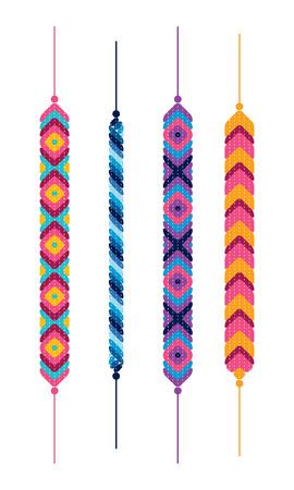 Set of friendship hippy bracelets. Multicolor vector illustration Illustration