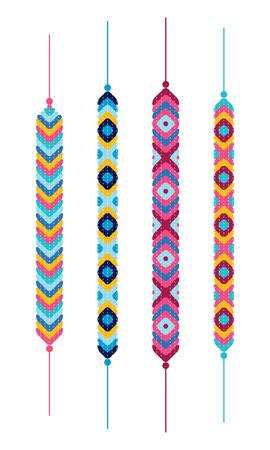 ethno: Set of friendship hippy bracelets. Multicolor vector illustration Illustration