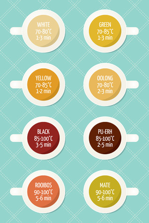 Tea varieties and brewing instructions. Steeping time and temperature. Types of tea in cups. Infographics