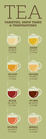 oolong: Tea varieties and brewing instructions. Steeping time and temperature. Types of tea in glass teapots. Infographic poster Illustration