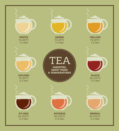 Tea varieties and brewing instructions. Steeping time and temperature. Types of tea in glass teapots. Infographic poster Illustration