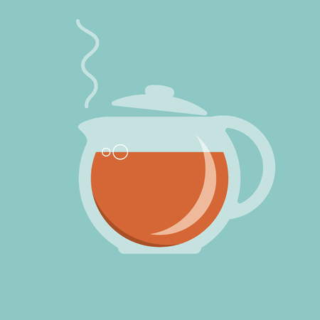 oolong: Glass teapot with hot tea icon. Vector illustration