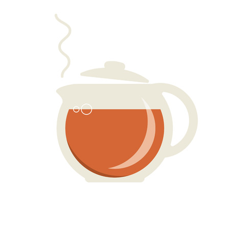 Glass teapot with hot tea icon. Vector illustration