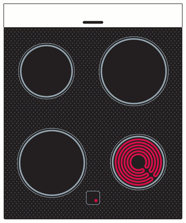 hob: Electric ceramic cooker surface with burning hob. Vector illlustratio Stock Photo