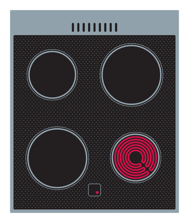 hob: Electric ceramic cooker surface with burning hob. Vector illustration