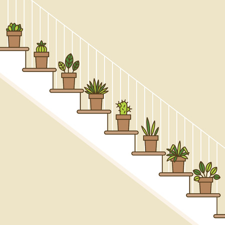 stairs interior: House plants in the pots on stairs. Flowers in the house. Interior flat line illustration Illustration