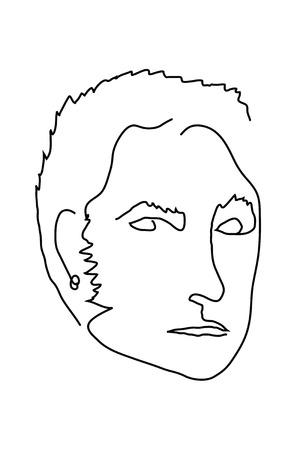 male portrait: Simple line male portrait. Vector illustration