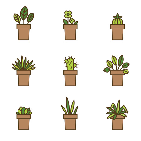 patio set: House plants in flowerpots. Set of flat line icons. Vector Illustration