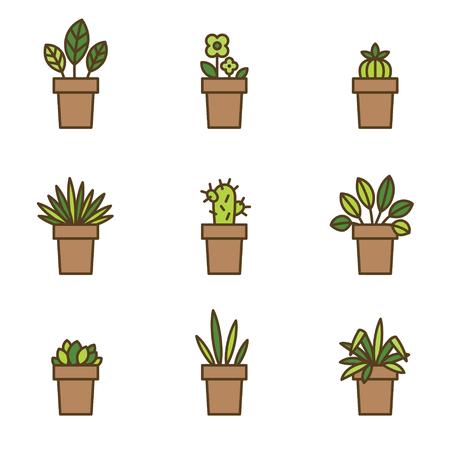 flowerpots: House plants in flowerpots. Set of flat line icons. Vector Illustration