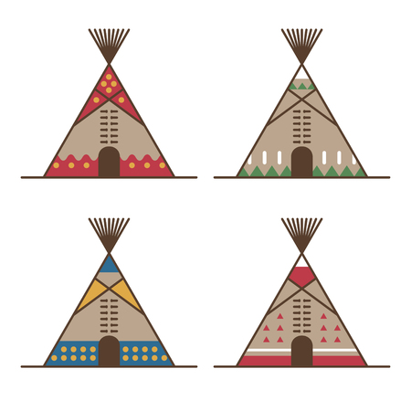Native american tipis with traditional indian decoration. Vector illustration