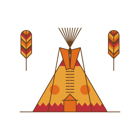 Traditional native american tipi and feathers. Indian dwelling