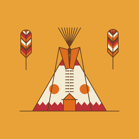 dwelling: Traditional native american tipi and feathers. Indian dwelling