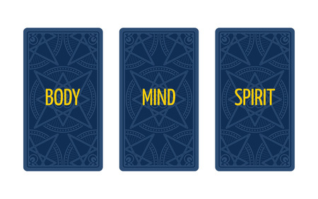 triplet: Three card tarot spread. Divination about body, mind and spirit. Tarot cards back side