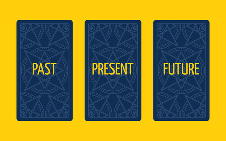 triplet: Three card tarot spread. Divination about past, present and future. Tarot cards reverse side