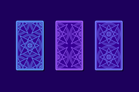 psychic: Tarot cards by reverse side. Classic designs. Vector illustration Illustration