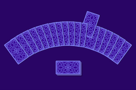 semicircle: Tarot cards by reverse side laying in a semicircle. Choice concept
