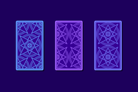 diviner: Tarot cards by reverse side. Classic designs. Vector illustration Stock Photo