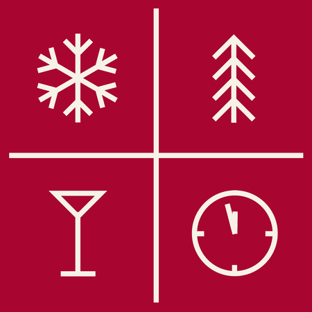 hollidays: Set of christmas geometric icons. New year symbols. Pictogram Illustration