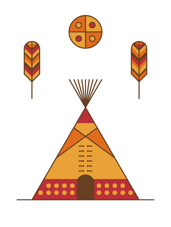 Traditional native american tipi, feathers and symbolic sun. Indian dwelling Illustration