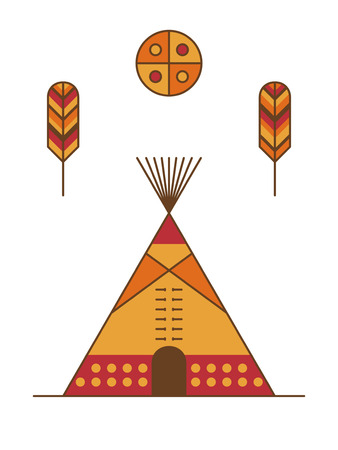 dwelling: Traditional native american tipi, feathers and symbolic sun. Indian dwelling Stock Photo