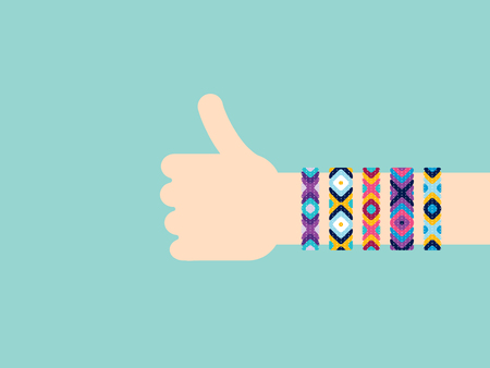 Hitchhiking hand with hippy friendship bracelets. Thumb up sign Ilustrace