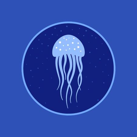 deepsea: Jellyfish under water icon. Marine life. Vector illustration