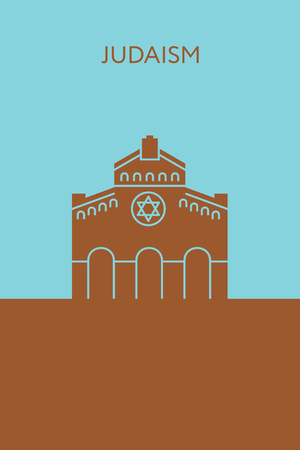 Synagogue icon.  concept. Religious building Illustration