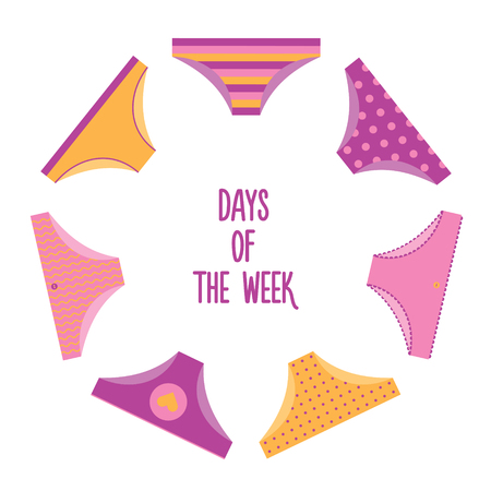 Days of the week woman panties set. Different designs Illustration