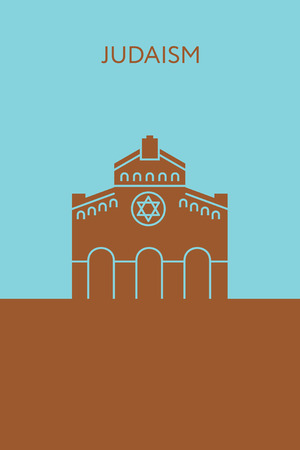 shabbat: Synagogue icon. Judaism concept. Religious building