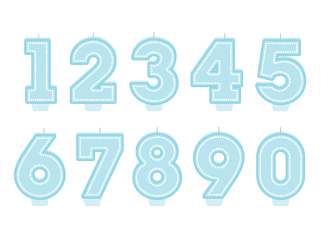 Set of birthday candles. Number shapes. Boy design Stock Photo