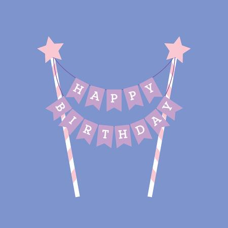 Happy birthday decoration. Cake topper. Lettering Stock Photo