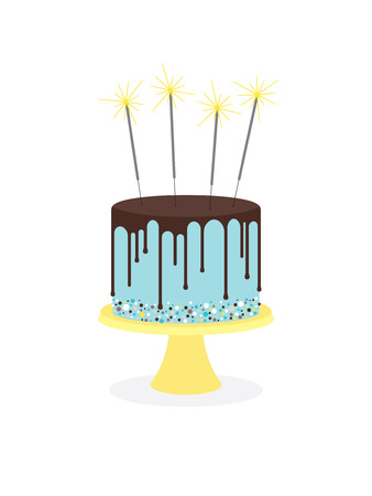 Birthday cake with chocolate frosting and sparklers Stock Photo