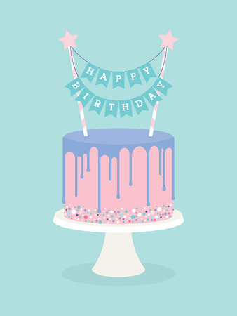 Birthday cake with frosting and decoration. Happy birthday topper Stock Photo