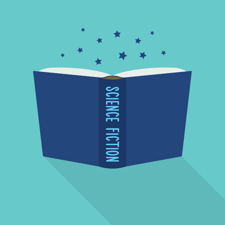 science is exciting: Open book icon. Concept of science fiction, literary genre