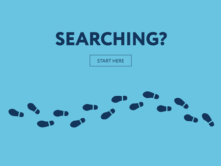Concept of searching. Internet banner. Start here button
