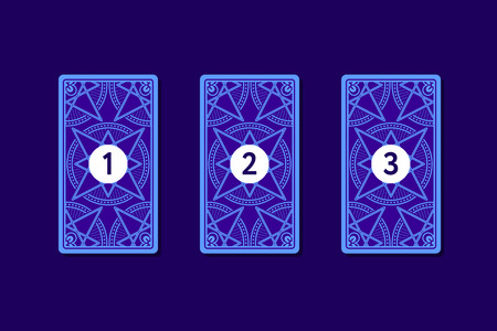 triplet: Three card tarot spread. Reverse side. Number 1, 2, 3 Stock Photo