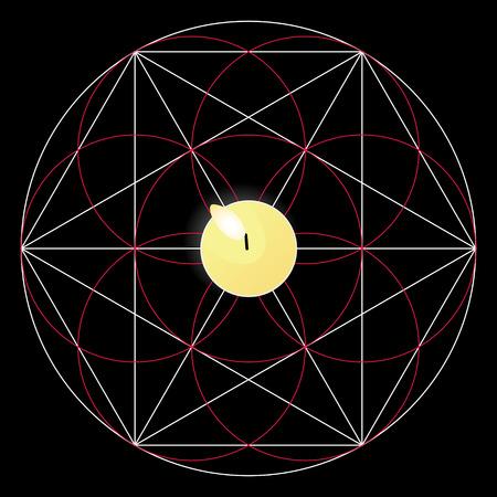 ritual: Magic ritual with candle. Sacred geometry sign
