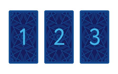 reverse: Three card tarot spread. Reverse side. Number 1, 2, 3 Stock Photo