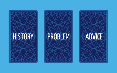 triplet: Three card tarot spread. Reverse side. Problem solution. Vector Stock Photo