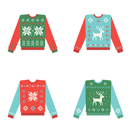 Set of ugly christmas sweaters with snowflake and deer pattern. Vector