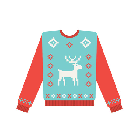 comfortable: Ugly christmas sweater with deer pattern. Vector