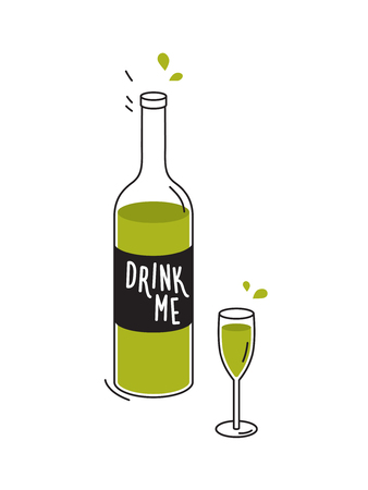 Bottle of green liquid and wineglass. Doodle drawing. Vector