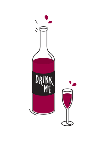drink me: Bottle of red wine and wineglass. Doodle drawing. Vector Stock Photo