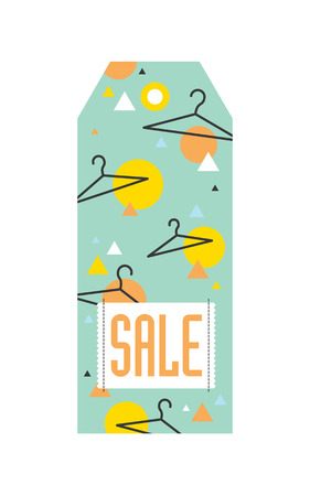 Sale tag with hangers and geometric pattern. Vector